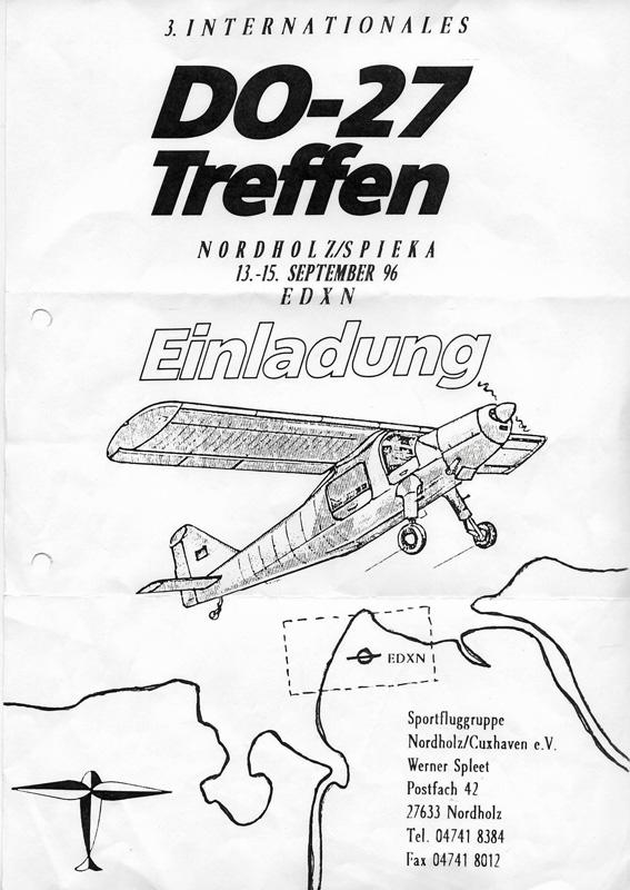 Einladung zum 3. Internationalen Do-27 Treffen in Nordholz/Spieka (EDXN) vom 13. – 15. September 1996